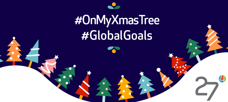 The Virtual XmasTree decorations with Globals Goals for a Sustainable delevopment. Share the Goals, Tell Everyone a Sustainable Merry Xmas.